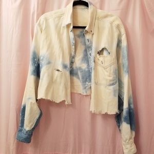 Vintage oversized distressed cropped jean jacket